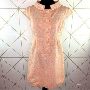 Ellen Tracy 60s Style Brocade Mini Dress Mod Flaws